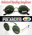 !!! Поляризованные очки для чтения! круглые старинные золотые Оззи стиль ПОЛЯРИЗОВАННЫХ СОЛНЦЕЗАЩИТНЫХ ОЧКОВ + 1.0 + 1.5 + 2.0 + 2.5 + 3.0 + 3.5 + 4.0