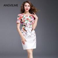 ANGVILME top 2017 Women summer print dress many design Silm china style brief elegant printing good quality plus dress