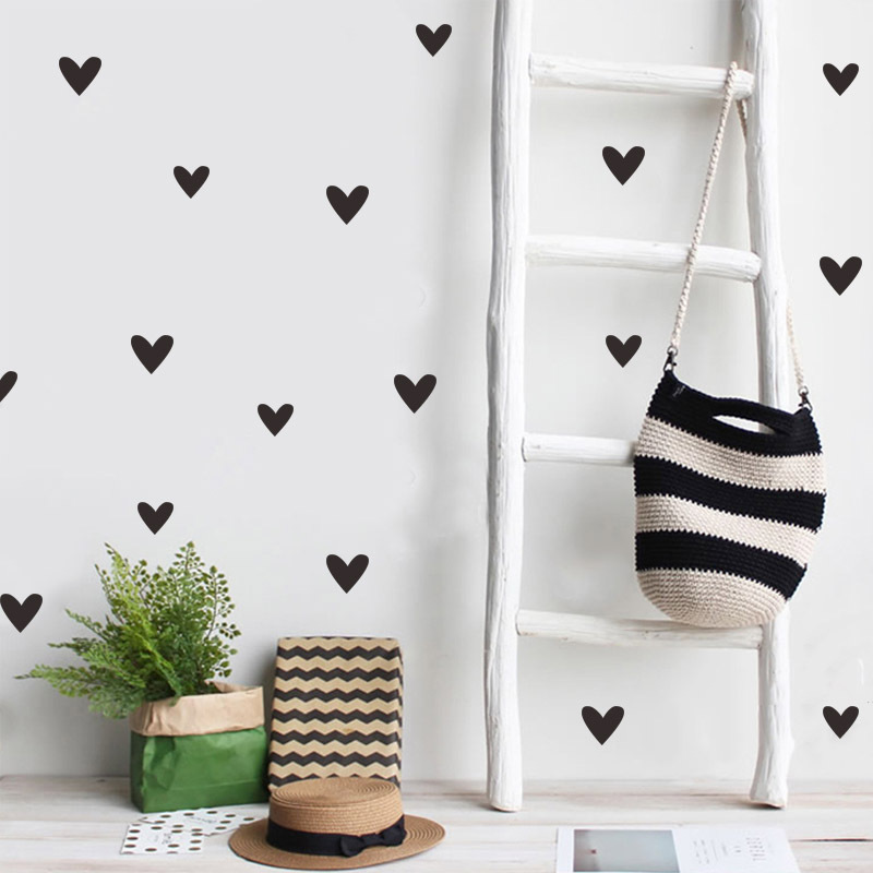 25pcs/set Small Love Heart Home Decor Wall Sticker Decal Bedroom Vinyl Art Mural Decoration Decals Removable Poster
