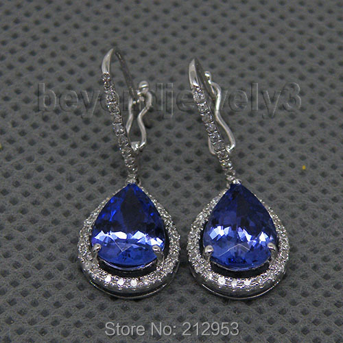 Drop Earrings For Women New Vintage Pear 7x9mm Tanzanite Diamond Earrings Real14k White Gold Female Anniversary Party Jewelry