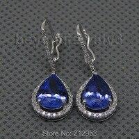 Drop Earrings For Women New Vintage Pear 7x9mm Tanzanite Diamond Earrings Real14k White Gold Female Anniversary Party Jewelry