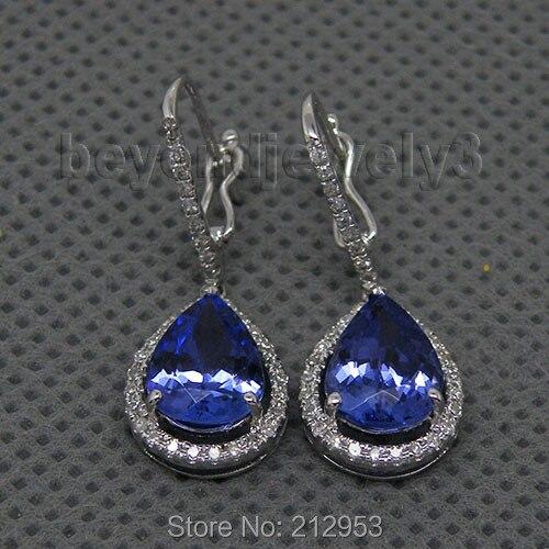 Pendientes para las Mujeres Nuevo Vintage pera 7x9mm Tanzanite pendientes de diamantes Real14k oro blanco mujer fiesta de aniversario joyería