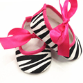 2017 Unique Cute Zebra Leapord Print Damask Bow Cotton Crib Shoes 0-18M For Girl Newborns Lovely Shoes
