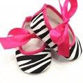 2017 único bonito zebra leapord damasco bow algodão crib shoes 0-18 m para a menina recém-nascidos encantadores shoes