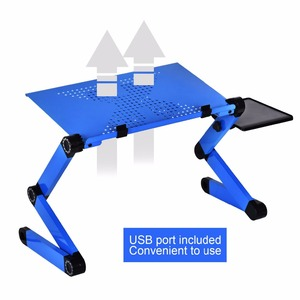 Image 4 - Aluminum Alloy Laptop Table Adjustable Portable Folding Computer Desk Students Dormitory Laptop Table Computer Stand Bed Tray