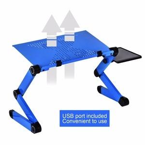 Image 4 - Liga de alumínio mesa do portátil ajustável portátil dobrável computador estudantes dormitório mesa do portátil suporte do computador cama bandeja