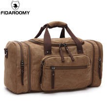Men Travel Bag Canvas Multifunction Leather Bags Carry on Luggage Bag Men Tote Large Capacity Utility Weekend Overnight Bag(China)