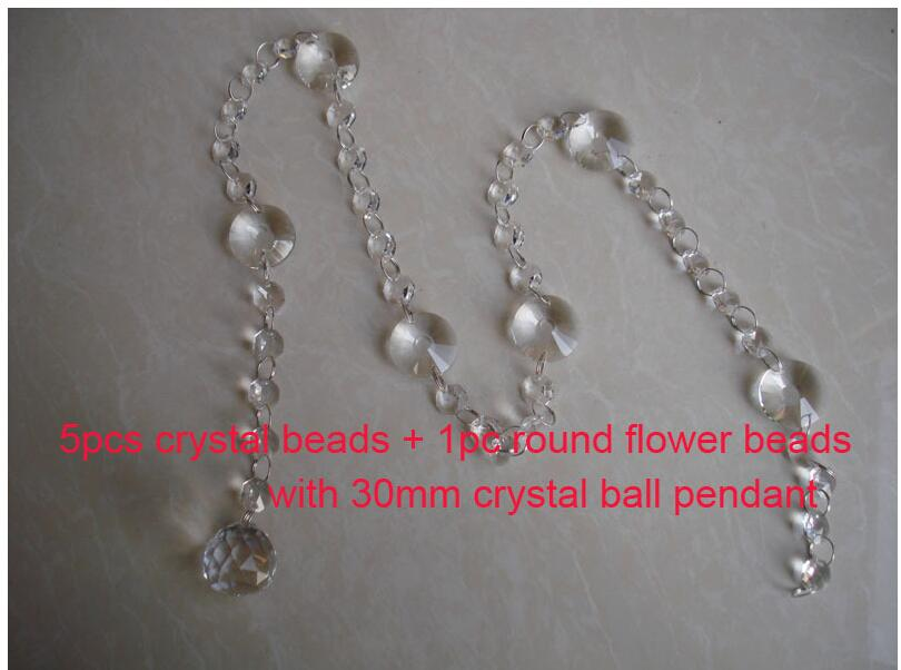 Free Shipping 20M Crystal Garland 14mm Octagonal Glass Crystal Strands with 30mm Crystal Ball Pendant For Wedding DecorationsFree Shipping 20M Crystal Garland 14mm Octagonal Glass Crystal Strands with 30mm Crystal Ball Pendant For Wedding Decorations