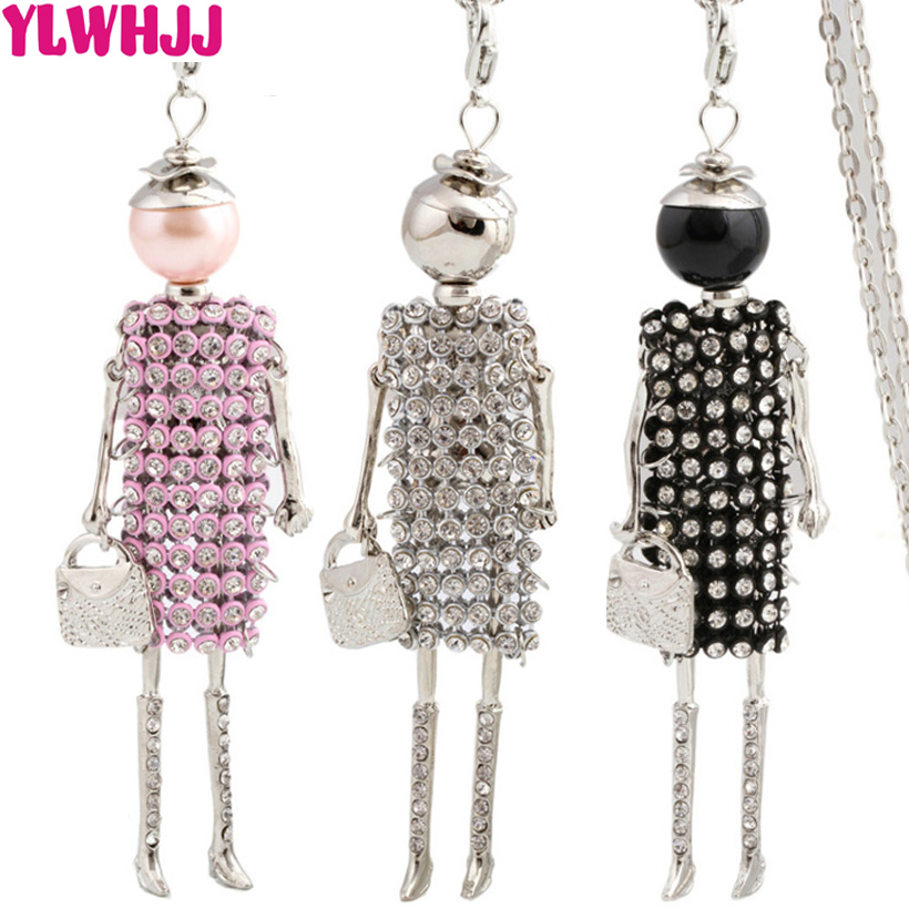 YLWHJJ Brand New Women Lovely Silver Dress Doll Rhinestones Long Chain Necklace Girl Baby Pendant Fashion Statement Jewelry Hot