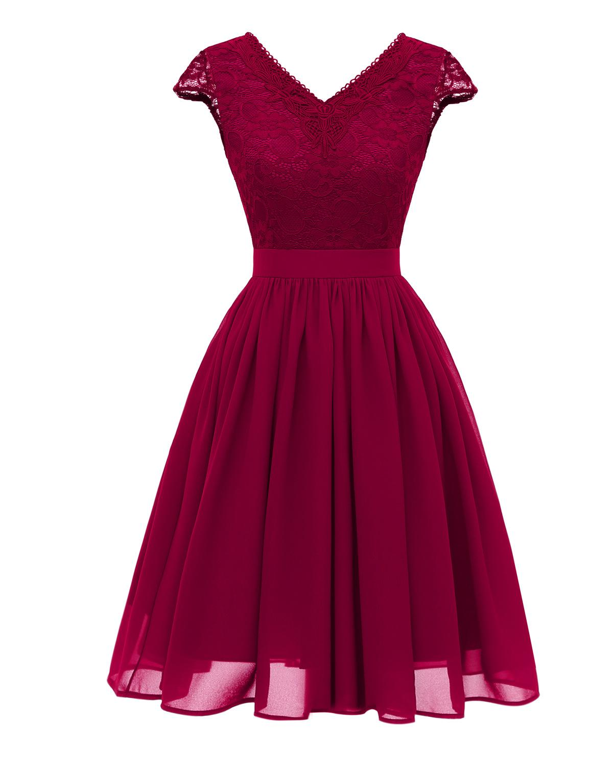 V-neck Burgundy Lace   Cocktail     Dresses   Chiffon vestidos elegant Short Formal   Dress   party 2019 Homecoming   Dress