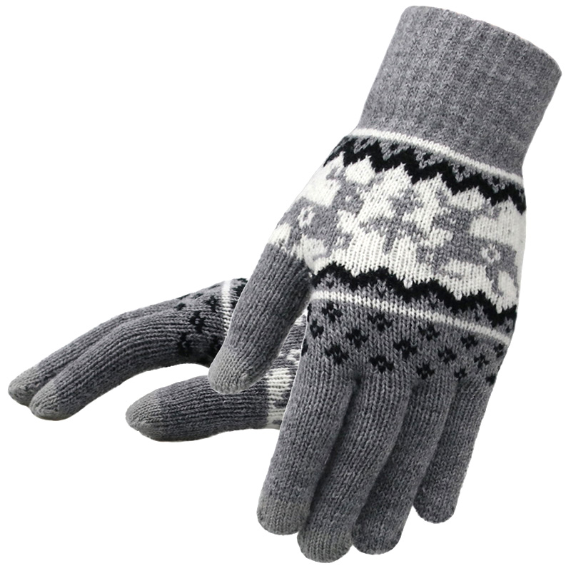 Women Knitted Gloves Winter Fashion Full Finger Mittens Women Soft Christmas Deer Pattern Touch Screen Women Knit Gloves