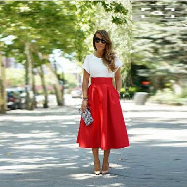 84e34215e061 Midi Jupe Satin Jupe Longue Filles Jupes Rouge Femmes Jupes Longues Une  Ligne De Mode Jupe