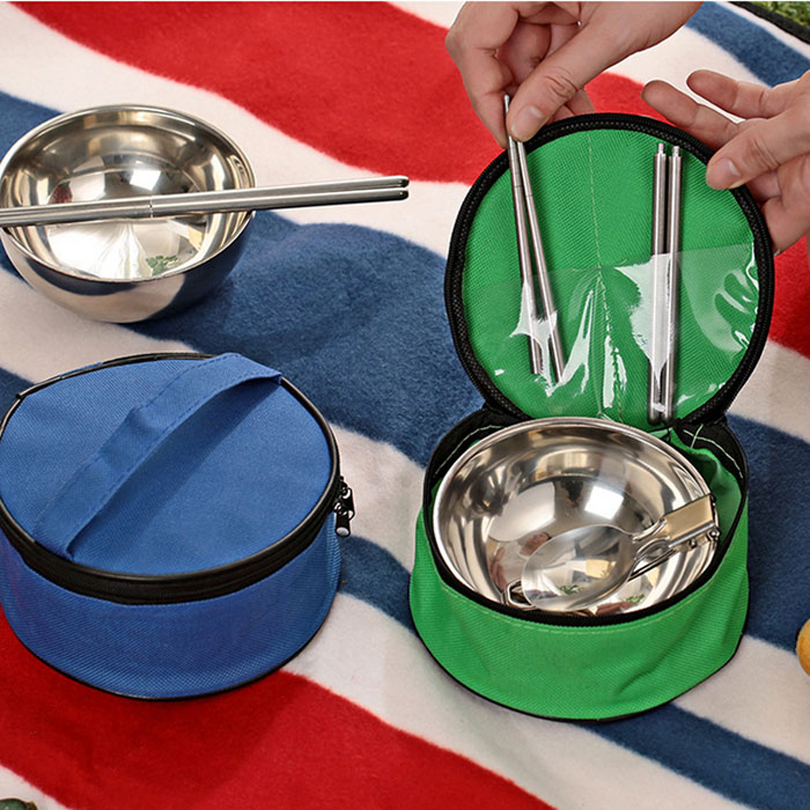 New 3 In1 Cutlery Camping Sets Portable Stainless Steel Picnic Tableware Bowl Folding Spoon Chopsticks Travel Camping Cookware Camping & Hiking