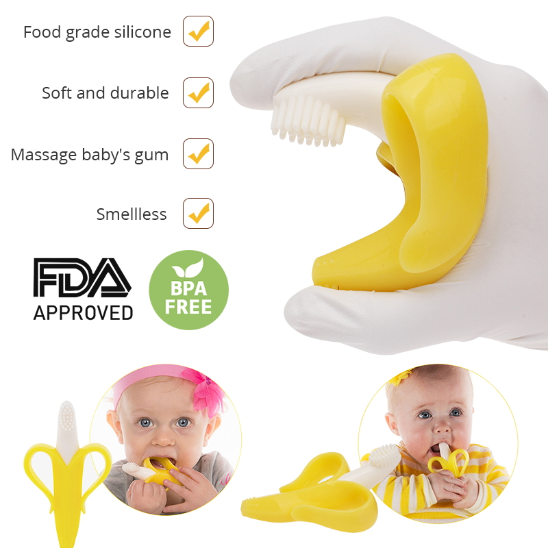 Silicone Teether Baby Teething Toys Banana Teether Infant Oral Care Toothbrush Chewing Toy Fruit Teethers High Quality And Safe in Baby Teethers from Mother Kids