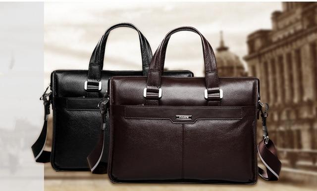 Men shoulder messenger bag men's genuine leather Business briefcase, man bag for 15.6' laptop computer 2018 male handbag 4