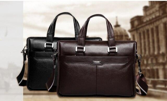 P.KUONE shoulder handbag men's casual genuine leather Business bag briefcase, for 14 or 15.6 inch laptop computer Messenger bag
