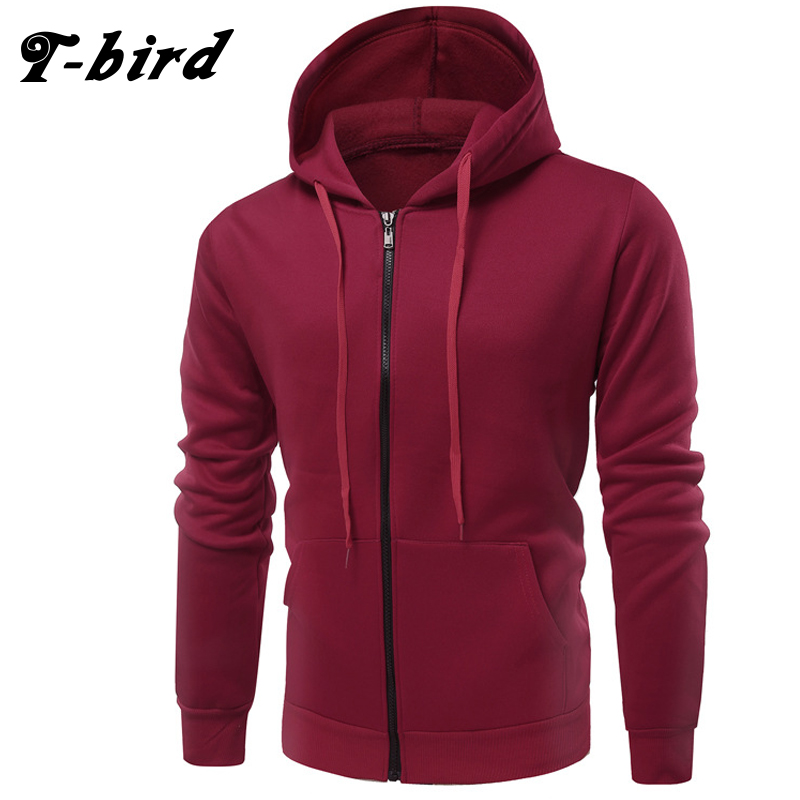 T-Bird Hoodies Men 2018 Male Long Sleeve Hoodie Pure Color Plus Velvet Sweatshirt Mens Moletom Masculino Hoodies Slim Tracksuit