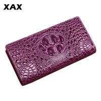 XAX High quality male purse with real 3D embossed crocodile skin long purse women business special offer Big purse hand 002tb