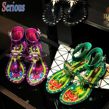 Luxury Colorful Flower Sandal Clip Toe Low Heeled Women Sandal font b Shoes b font 2016
