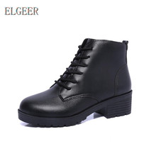 ELGEER 2018 womens new thick with non-slip platform high-heeled shoes spring and autumn boots High heel casual