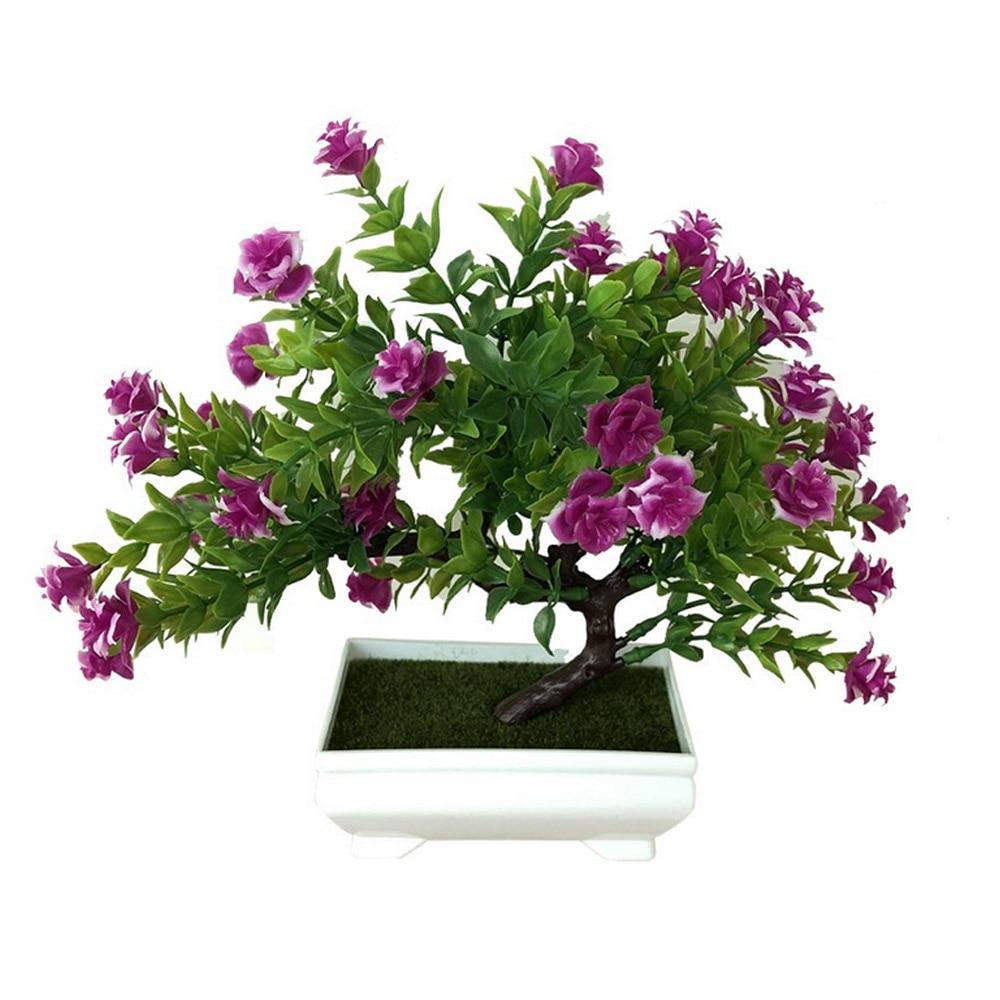 Искусственное растение Моделирование бонсай из цветов горшечный орнамент Настольный подарок Красивая мода домашний декор розы украшение дома - Цвет: purple red