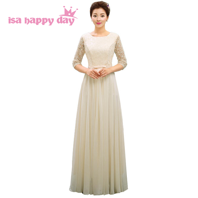 champagne chiffon ladies tops latest design   bridesmaids  ' & formal   dresses     bridesmaid     dress   with sleeves under 100 H3765