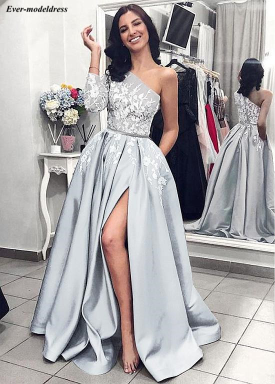One Shoulder Silver   Prom     Dresses   2019 Sexy High Split With Pockets Lace Appliques Zipper Back Sweep Train Evening Party Gowns