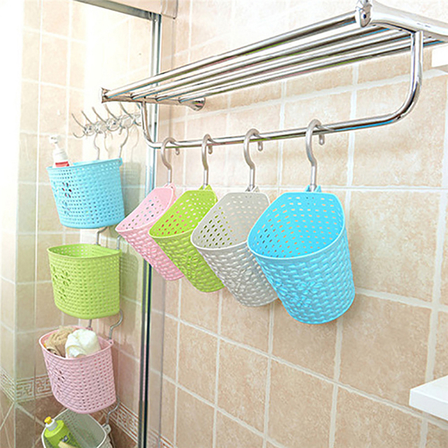 Portable Hooks Wall Hanging Storage Basket Container Holder For Kitchen  Makeup Sundries Shampoo Bedroom Home Organizer