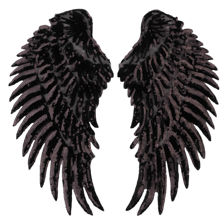 Big Cartoon Gefallenen Engel Schwarz Flügel Pailletten Applique Stickerei Eisen auf Rock Abzeichen Rucksack Patches für Kleidung T-shirt Jacke