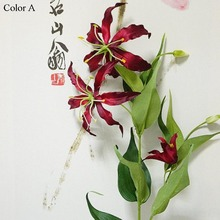 5Heads Flame lily branch Artificial flowers flores for Home Wedding Christmas decoration silk fake flower fleur artificielle