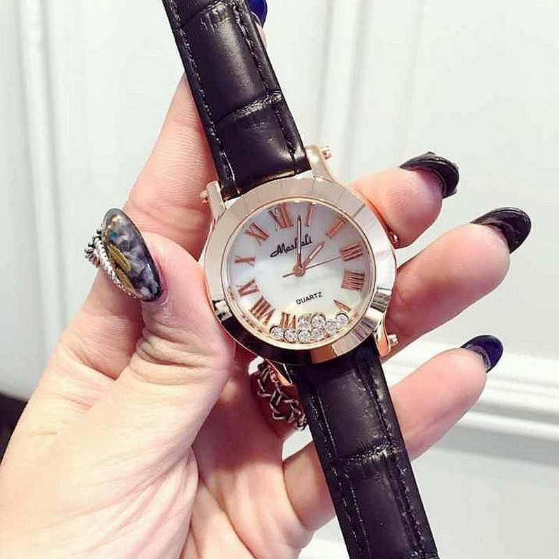 Fashion Women Quartz-Watch Rhinestone Leather Casual Dress Watches Rose Gold Crystal Ladies clock relogio feminino montre femme new fashion brand gold geneva casual quartz watch women crystal silicone watches relogio feminino dress ladies wristwatches hot