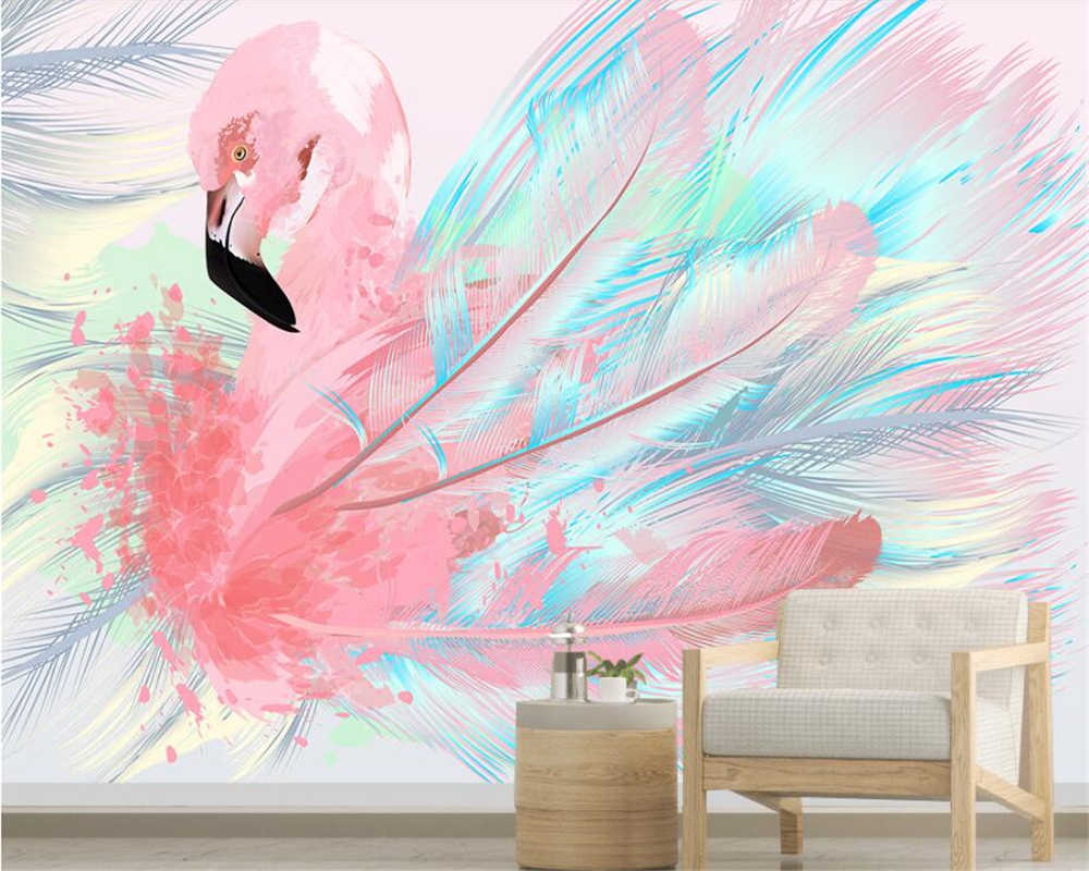 Beibehang  Custom painting 3d wallpaper papel de parede 3d wallpaper Nordic tropical plants flamingo background wall paper mural