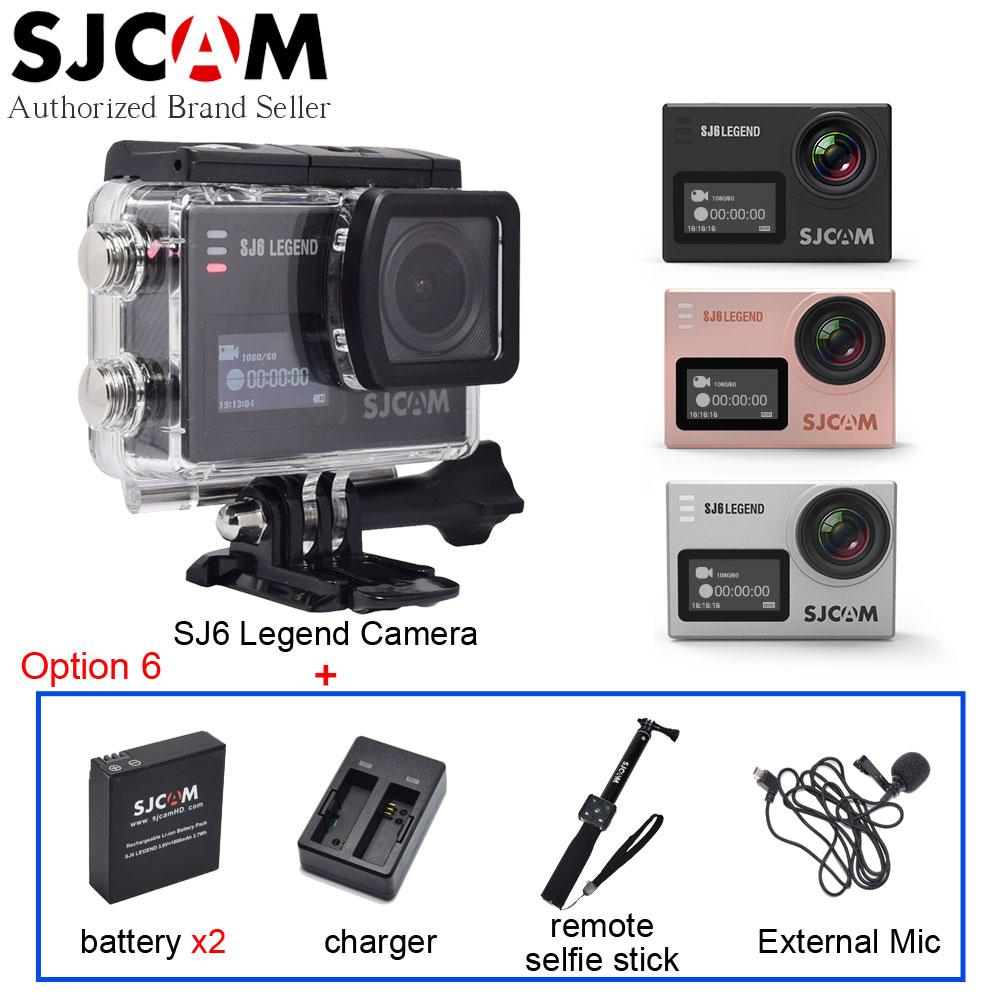 100% Original SJCAM SJ6 Legend 4K WiFi Sport Action Camera Mini DV+Extra Battery+Charger+Extended Microphone+Remote Selfie Stick sjcam sj6 legend silver