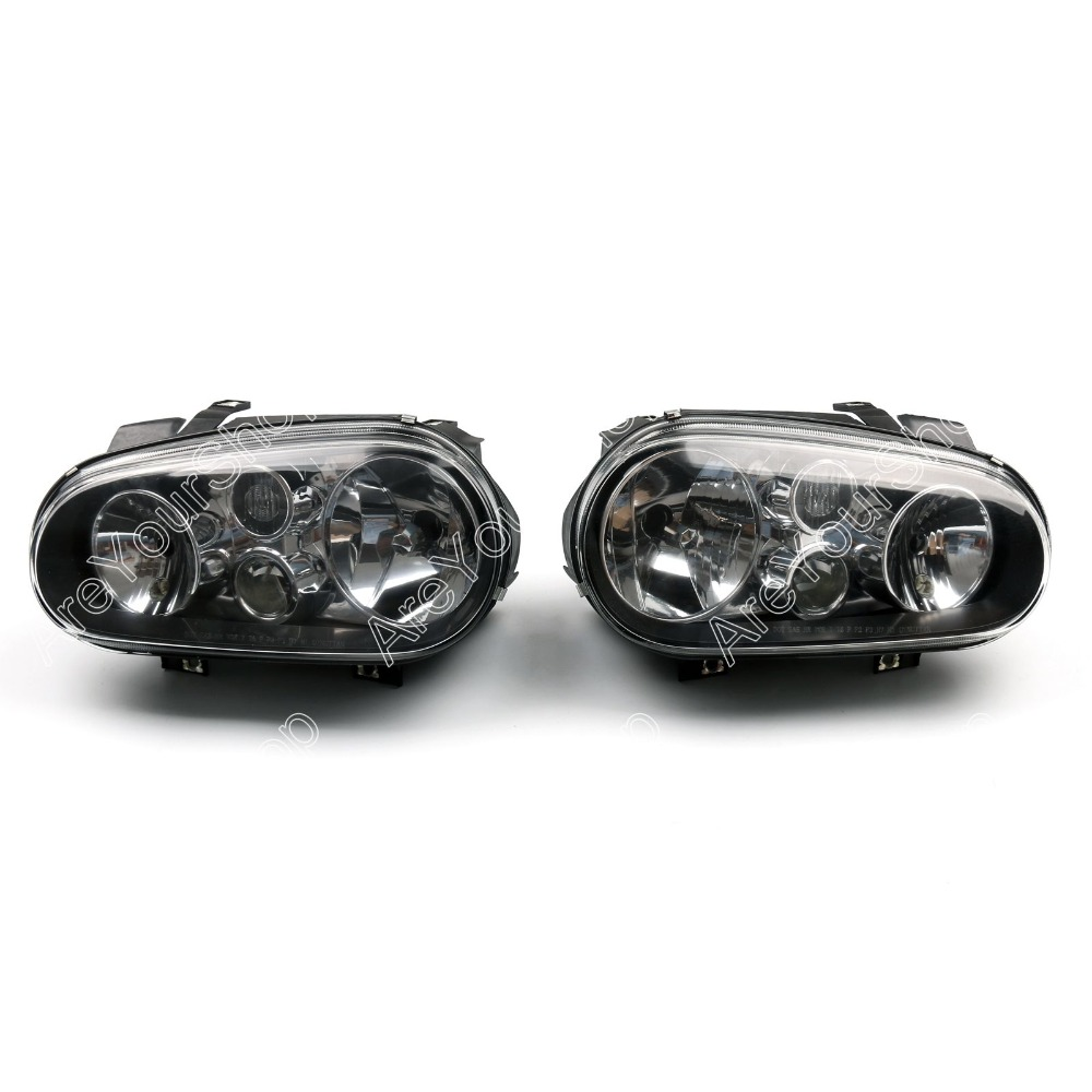 Sale Black Projector Halo Left Right Headlights Auto Car Front Head Lamp For VW Golf GTI Cabrio MK4 1999-2006