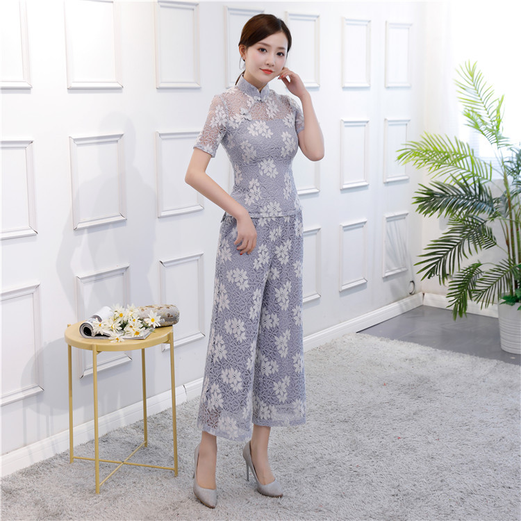 Gray Vintage Chinese Blouse Pants 2pc Sets Women Lace Short Sleeve Shirt Mandarin Collar Clothing New
