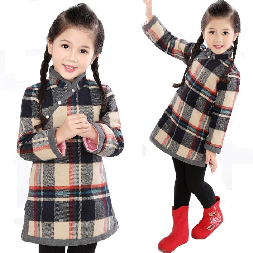 Red Baby Girl Dresses Coats Children Qipao Clothes Outerwear Spring Festival Quilted Cheongsam Girls Blouse Chi-Pao Dress Jumper