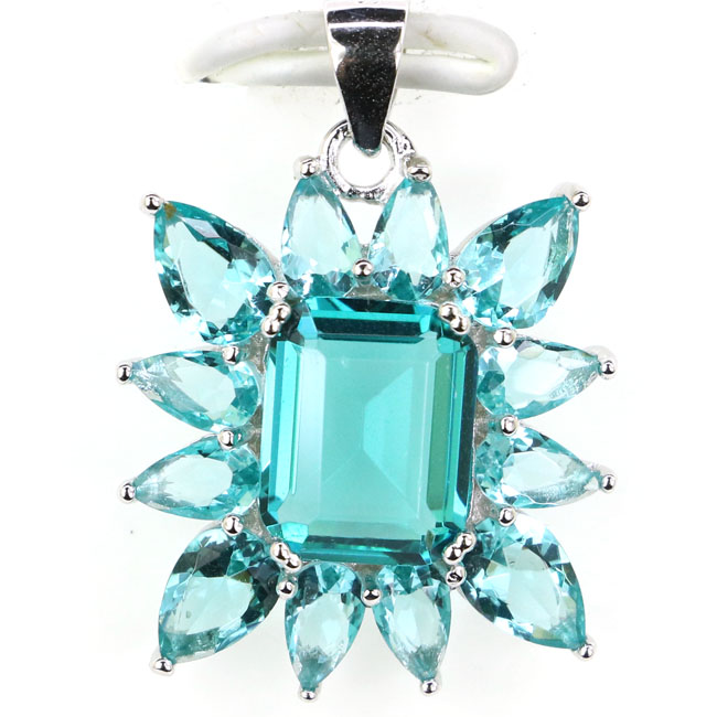 Real 925 Solid Sterling Silver 2.6g Rich Blue Aquamarine Womans Pendant 26x19mm