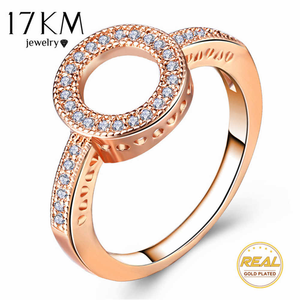 17KM Fashion Female Round Finger Rings For Women Lover Wedding Jewelry Party Trendy Rose Gold Sliver Color Ring Wholesale