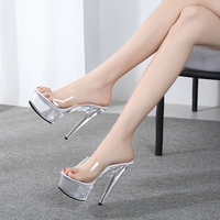 Shoes Women 2019 Summer Female Model T Show Sexy Crystal Shoes 15cm High heeled Transparent Waterproof Terrace Slippers V2526