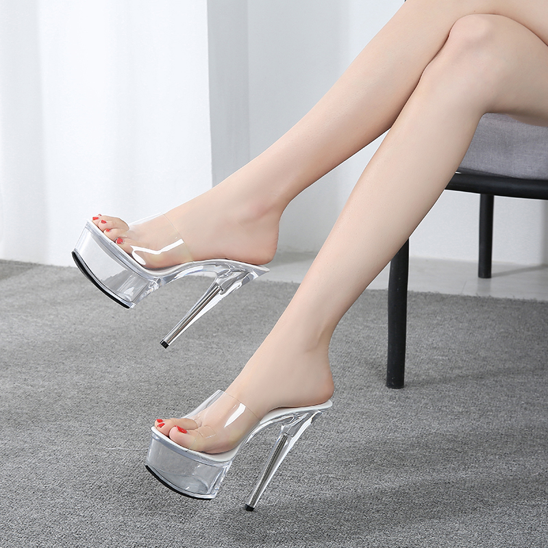 Shoes Women 2019 Summer Female Model T Show Sexy Crystal Shoes 15cm High-heeled Transparent Waterproof Terrace Slippers V2526(China)