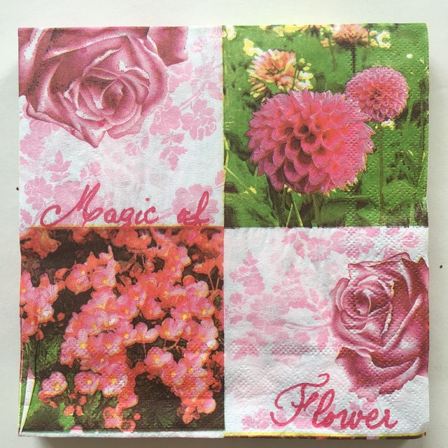 New Vintage table paper napkins tissue color print pink rose foral ...