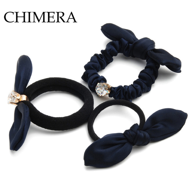 CHIMERA Women Bow Hair Bands 3pcs Scrunchie Elastic Tie Ponytail Holder Rope  Trendy Blue Handmade Cotton Fabric Hair Accessories 97f649412ba5