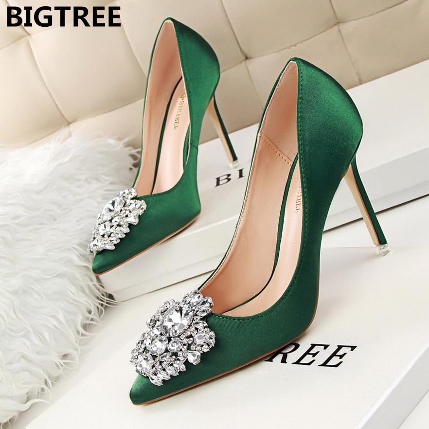 BIGTREE Woman Pumps Stiletto Wedding-Shoes Crystal Rhinestone Satin Gray Bridal High-Heel