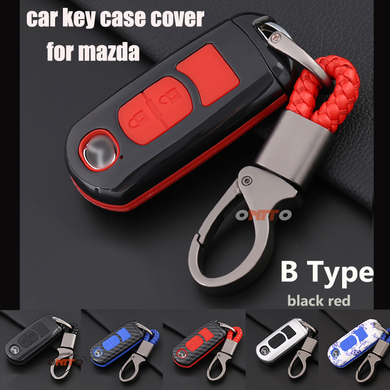 Red 2 Button Car Remote Key Case Holder Shell Cover for Mazda