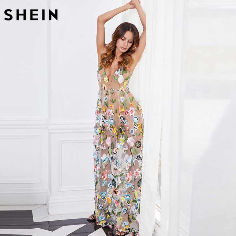 64db6d086f Aliexpress.com : Buy SHEIN Double Strap Embroidered Mesh Overlay Dress  Multicolor Spaghetti Strap Deep V Neck Sexy A Line Maxi Dress from Reliable  maxi ...
