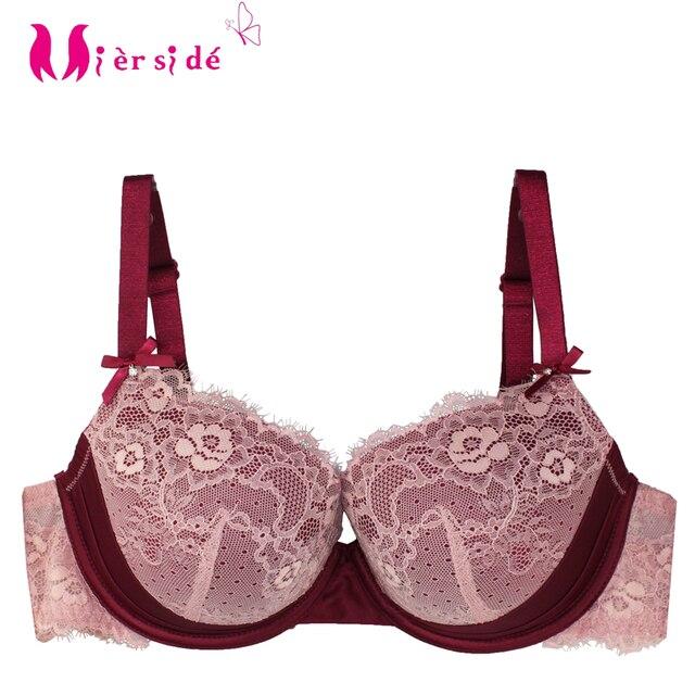 09e42ee3313 Mierside 1681 2 Color New Style 2017 Fashion Big Size Bra Plus Push Up Women  Brassiere Floral Lace Sexy Bralette Women Underwear