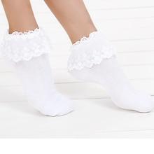 1 par 7 colores moda princesa chica Linda dulce mujer señoras Encaje Vintage Ruffle Cómodos calcetines tobilleros cortos Calcetines