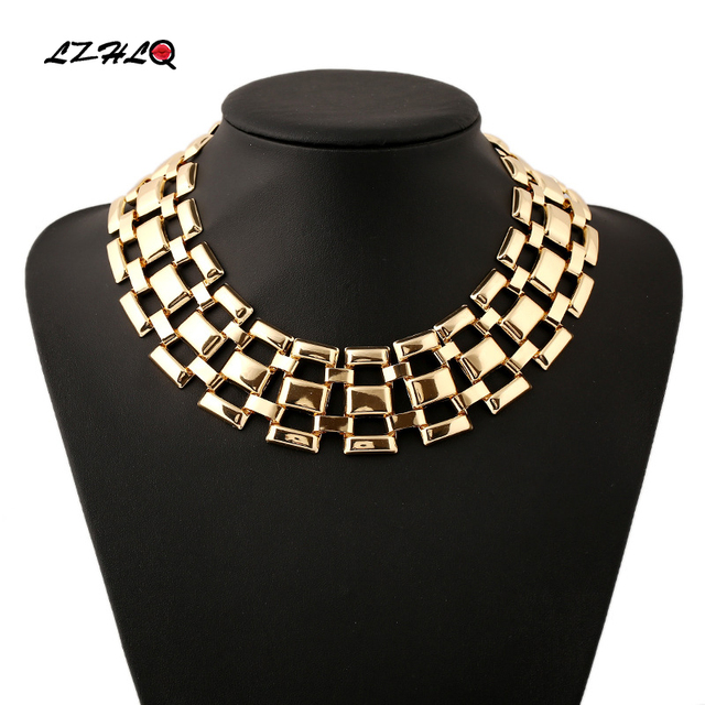 LZHLQ Rock Street Hollow Out Big Statement Choker Necklace Women Jewelry Persona