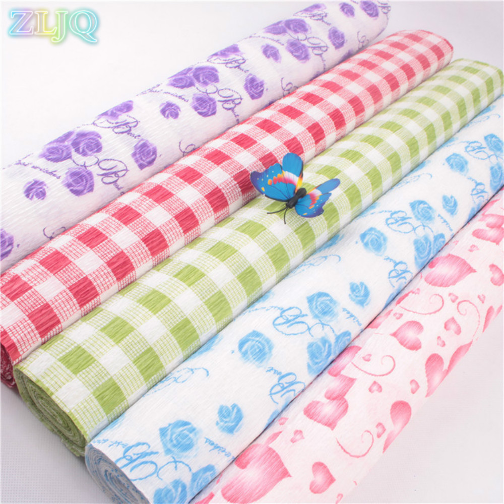 ZLJQ 50cm*2.5m Printing Paper Flowers Wrapping Paper DIY