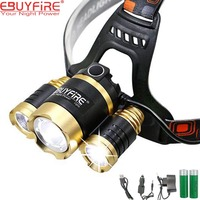 EBUYFIRE 3 LED ZOOM Headlight Rechargeable 18650 Zoomable Led Headlamp Outdoor Camping Multi Purpose Bike LED